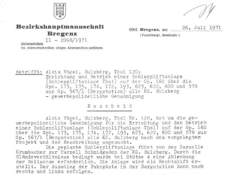 Bescheid - Schlepplift Hagenberg