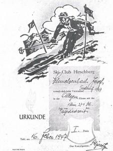 Urkunde Torlaufsieger 1947 - Josef Schmelzenbach